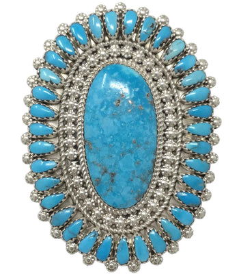 Load image into Gallery viewer, Sylvanna Wilson, Ring, Sleeping Beauty Turquoise, Cluster, Navajo Made, 7 ½