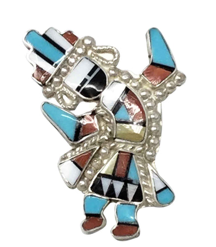 Zuni Handmade Ring, Rainbow Man, Shell, Jet, Turquoise, Sterling Silver, 7 ½