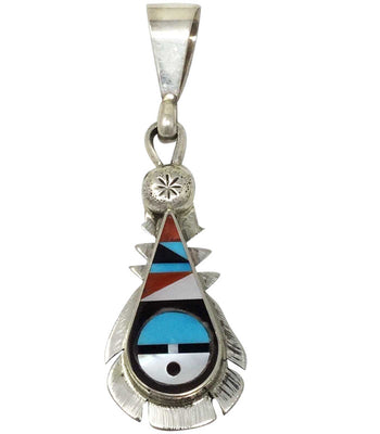 Load image into Gallery viewer, Ricky, Lucy Vacit, Pendant, Sunface, Multi Stone Inlay, Zuni Handmade, 2 3/8""