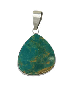 Fred Begay, Pendant, Turquoise Mountain, Sterling Silver, Navajo Made, 1 5/8""