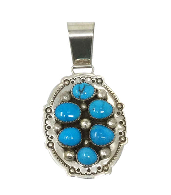 Load image into Gallery viewer, Melvin, Tiffany Jones, Pendant, Kingman Turquoise, Navajo Handmade, 2 3/4""
