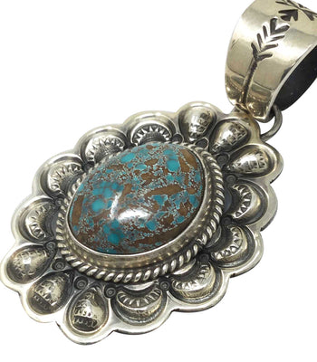 Load image into Gallery viewer, Darrell Cadman, Pendant, Pilot Mountain Turquoise, Navajo Handmade, 1 15/16""