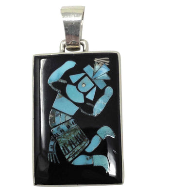 "Load image into Gallery viewer, Harlan Coonsis, Pendant, Rainbow Man, Turquoise, Jet, Zuni Handmade, 2"" x 1"""