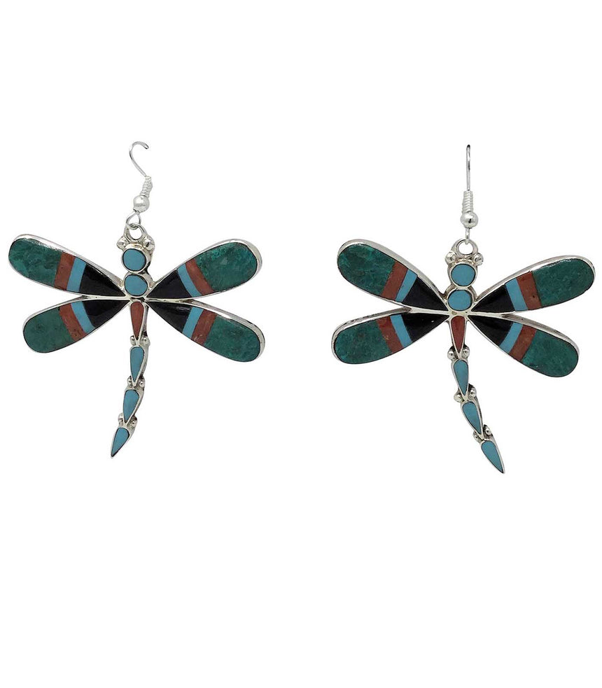 Angus Ahiyite, Earring,Dragonfly, Turquoise, Coral, Jet, Zuni Made, 2 1/2
