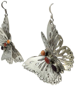 Rita Lee, Earrings, Butterfly, Red, Orange, Purple Spiny Oyster Shell, 2 1/2""