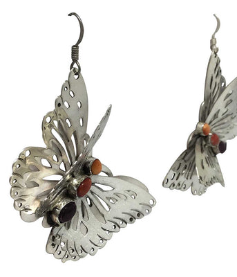Load image into Gallery viewer, Rita Lee, Earrings, Butterfly, Red, Orange, Purple Spiny Oyster Shell, 2 1/2""