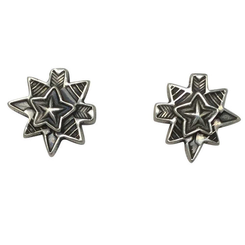 Bo Reeves, Earrings, Stars, Arrows, Sterling Silver, Navajo Handmade, 5/8