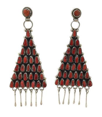 Load image into Gallery viewer, Eunise Wilson, Earrings, Dangle, Mediterranean Coral, Cluster, Navajo, 3 3/4""