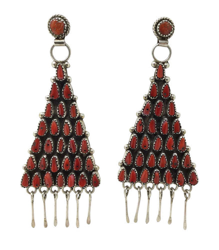 Eunise Wilson, Earrings, Dangle, Mediterranean Coral, Cluster, Navajo, 3 3/4
