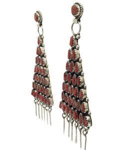 Eunise Wilson, Earrings, Dangle, Mediterranean Coral, Cluster, Navajo, 3 3/4""