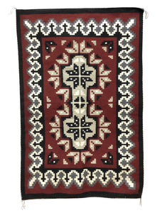 "Linda Joe, Ganado Red Rug, Navajo Handwoven, Double Diamond, 60"" x 36"""