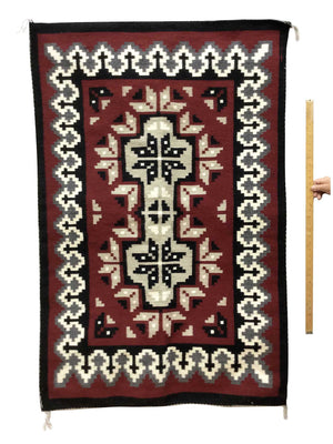 "Load image into Gallery viewer, Linda Joe, Ganado Red Rug, Navajo Handwoven, Double Diamond, 60"" x 36"""