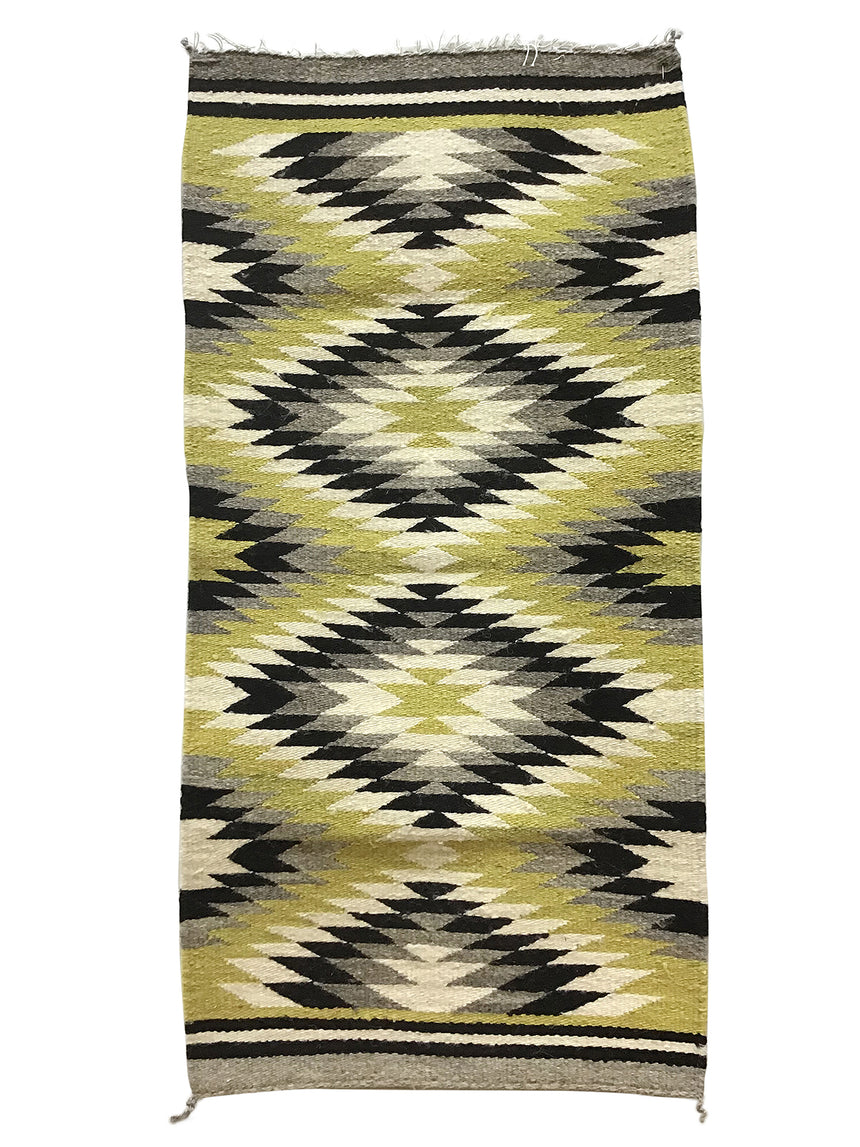 "Gallup Throw Rug, Navajo Handwoven, Wool, Cotton, 39"" x  20"""
