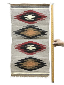 "Gallup Throw Rug, Navajo Handwoven, Wool, Cotton, 33 1/2"" x  17 1/2"""
