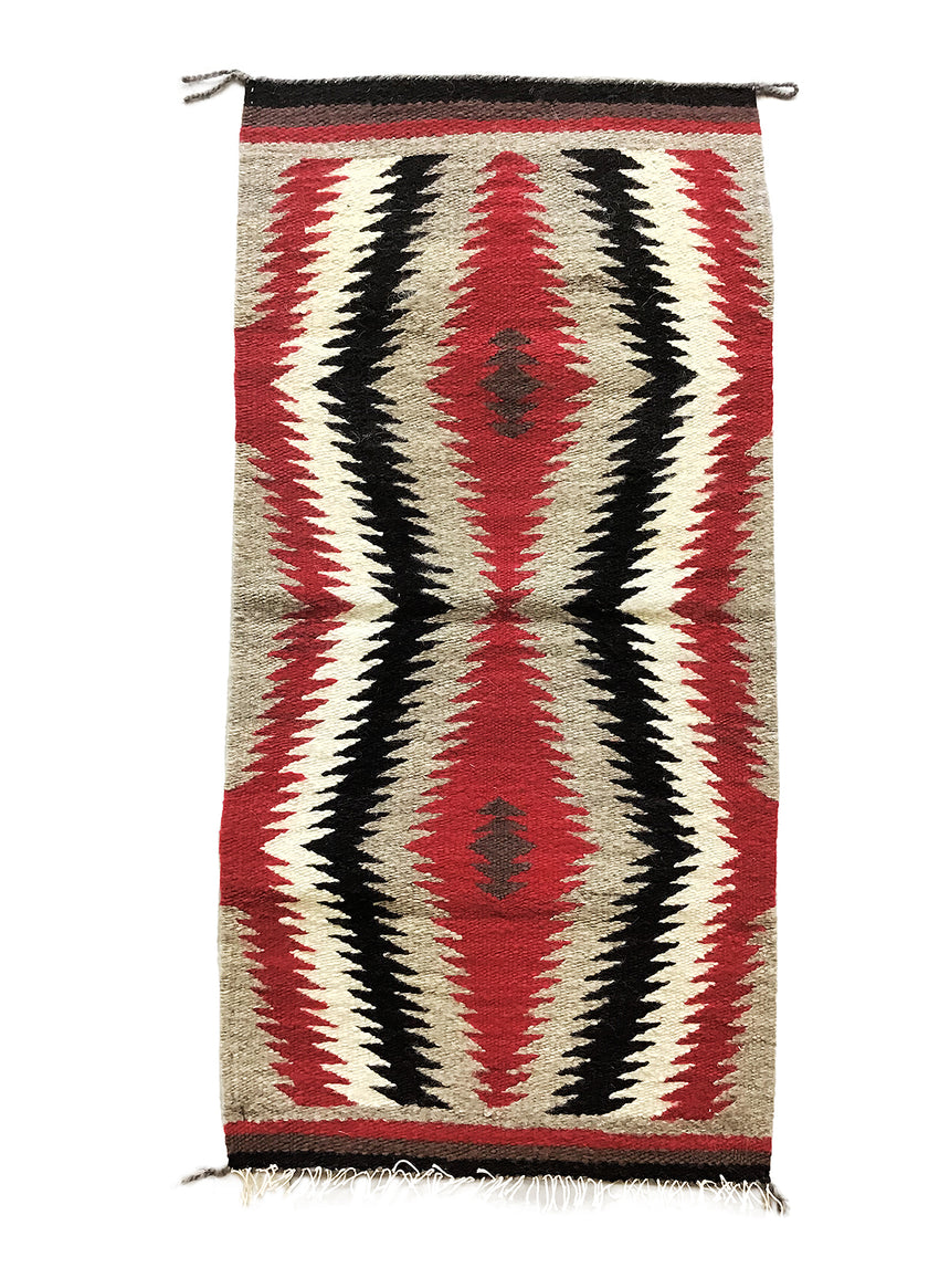 "Alice Spencer, Gallup Throw Rug, Navajo Handwoven, Wool, Cotton, 36"" x  18"""