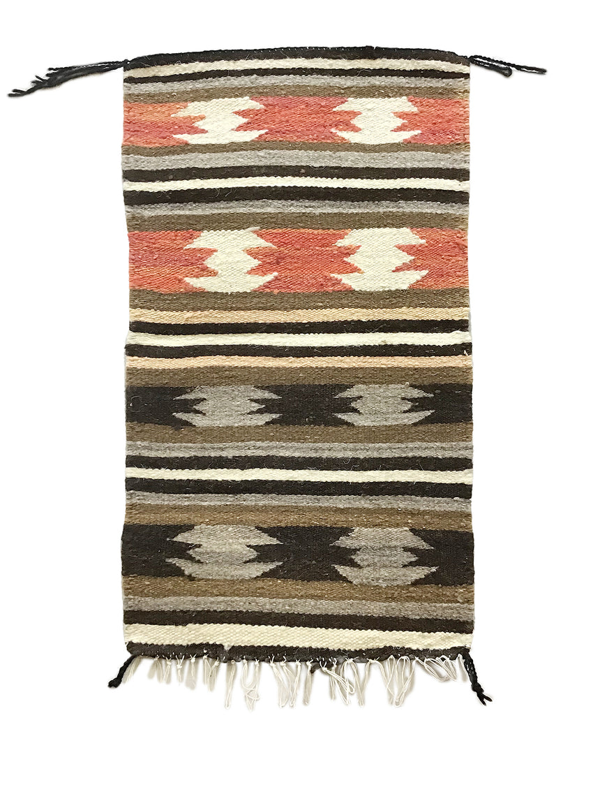 "Gallup Throw Rug, Navajo Handwoven, Wool, Cotton, 34"" x  19 1/2"""