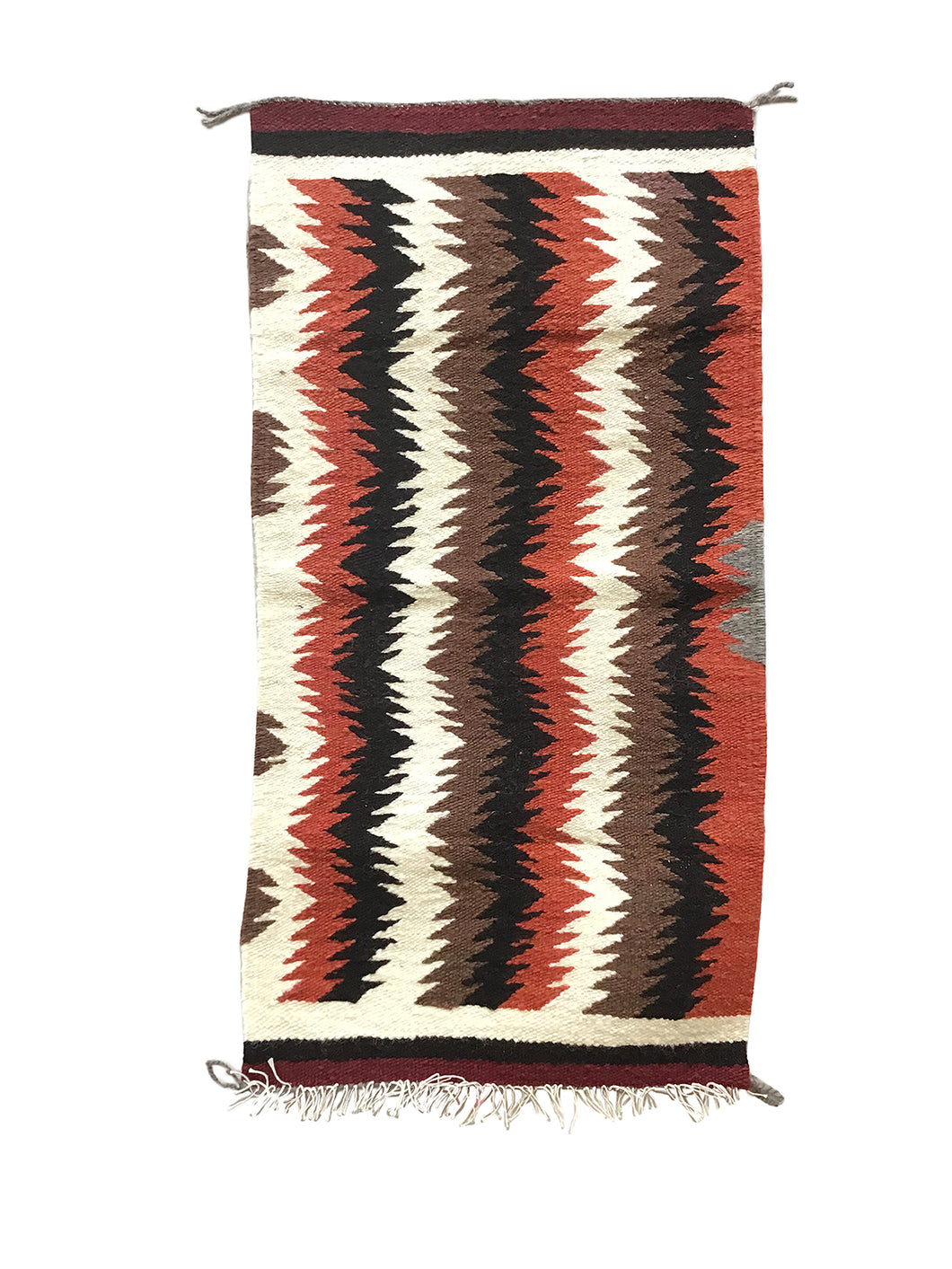 "Gallup Throw Rug, Navajo Handwoven, Wool, Cotton, 35"" x  18"""