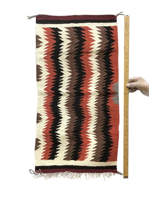"Load image into Gallery viewer, Gallup Throw Rug, Navajo Handwoven, Wool, Cotton, 35"" x  18"""