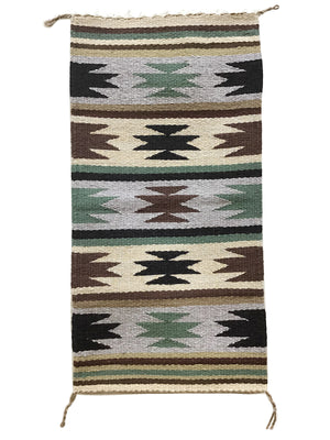 "Load image into Gallery viewer, Cynthia Sam, Gallup Throw Rug, Navajo Handwoven, Wool, Cotton, 37"" x 18 1/2"""