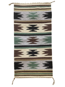 "Cynthia Sam, Gallup Throw Rug, Navajo Handwoven, Wool, Cotton, 37"" x 18 1/2"""