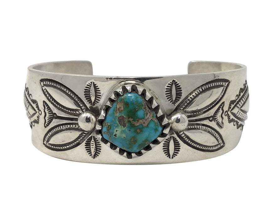 Arland Ben, Bracelet,Coin Silver,Stone Cabin Turquoise,Navajo Handmade, 7