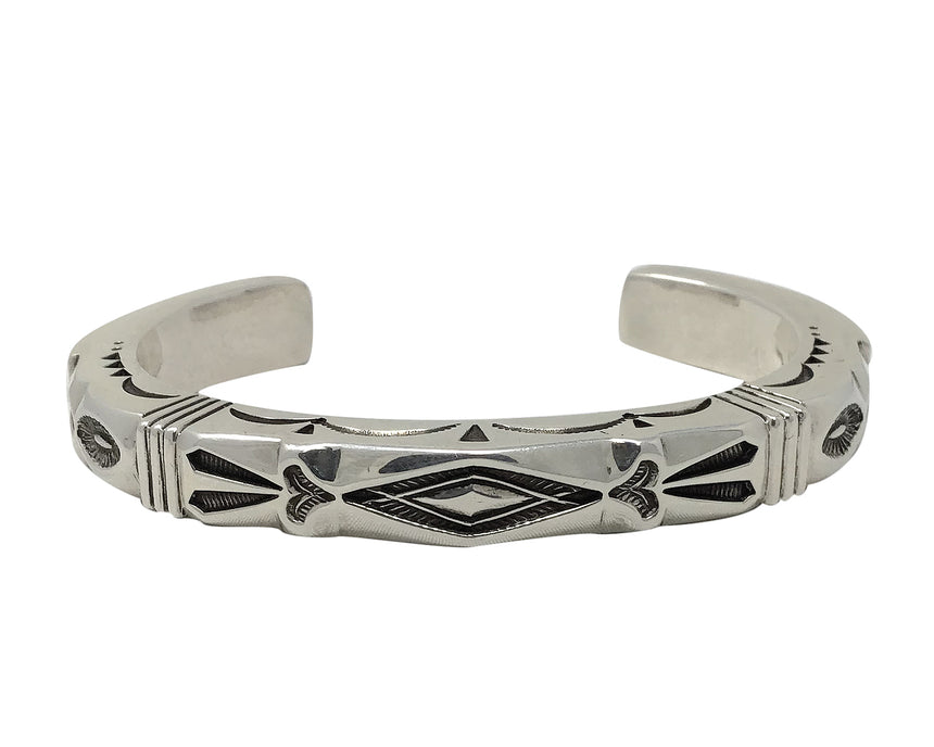 Jennifer Curtis, Bracelet, Heavy Square Wire, Stamping, Navajo Handmade, 6 3/4