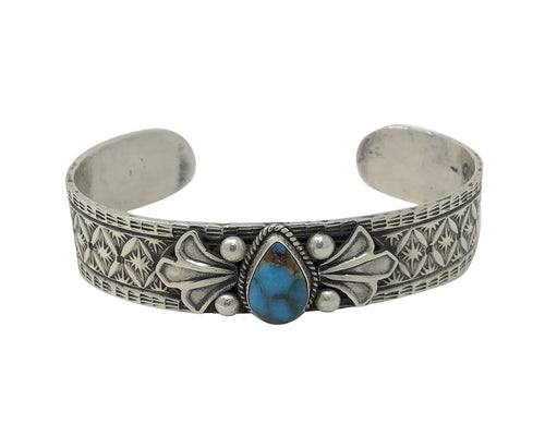 Bo Reeves, Bracelet,Bisbee Turquoise,Old Style, Stamping,Navajo Made, 6 3/4