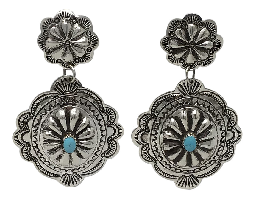 Arnold Blackgoat, Earrings, Dangles, Conchos, Turquoise, Navajo Handmade, 2 3/4