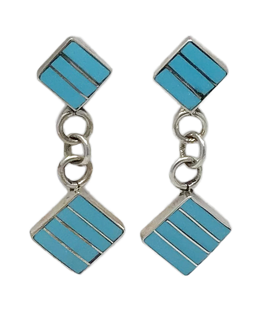 Vivian Haloo,Dangle Earrings,Turquoise,Channel Inlay, Zuni Handmade, 1 7/8