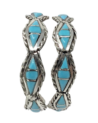 Load image into Gallery viewer, Malcolm Chavez,Hoop Earrings,Turquoise,Channel Inlay,Zuni Handmade, 1 1/2