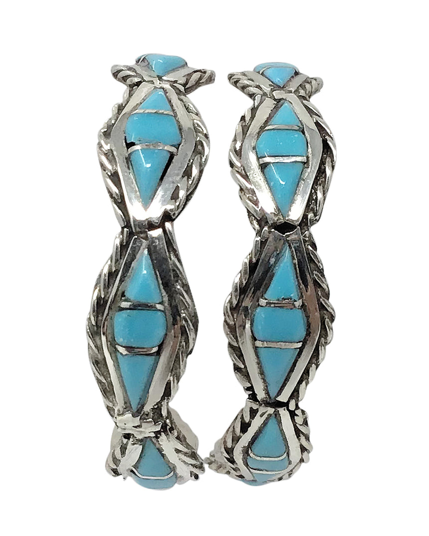 Malcolm Chavez,Hoop Earrings,Turquoise,Channel Inlay,Zuni Handmade, 1 1/2