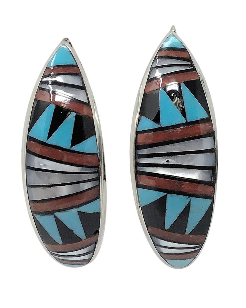 Phyllis Lucio,Earrings,Turquoise,Coral, Shell,Mosaic Inlay,Zuni, 1 3/4