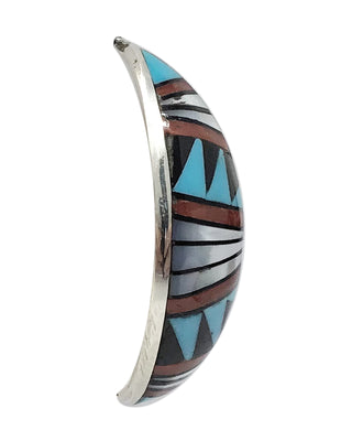 Load image into Gallery viewer, Phyllis Lucio,Earrings,Turquoise,Coral, Shell,Mosaic Inlay,Zuni, 1 3/4""