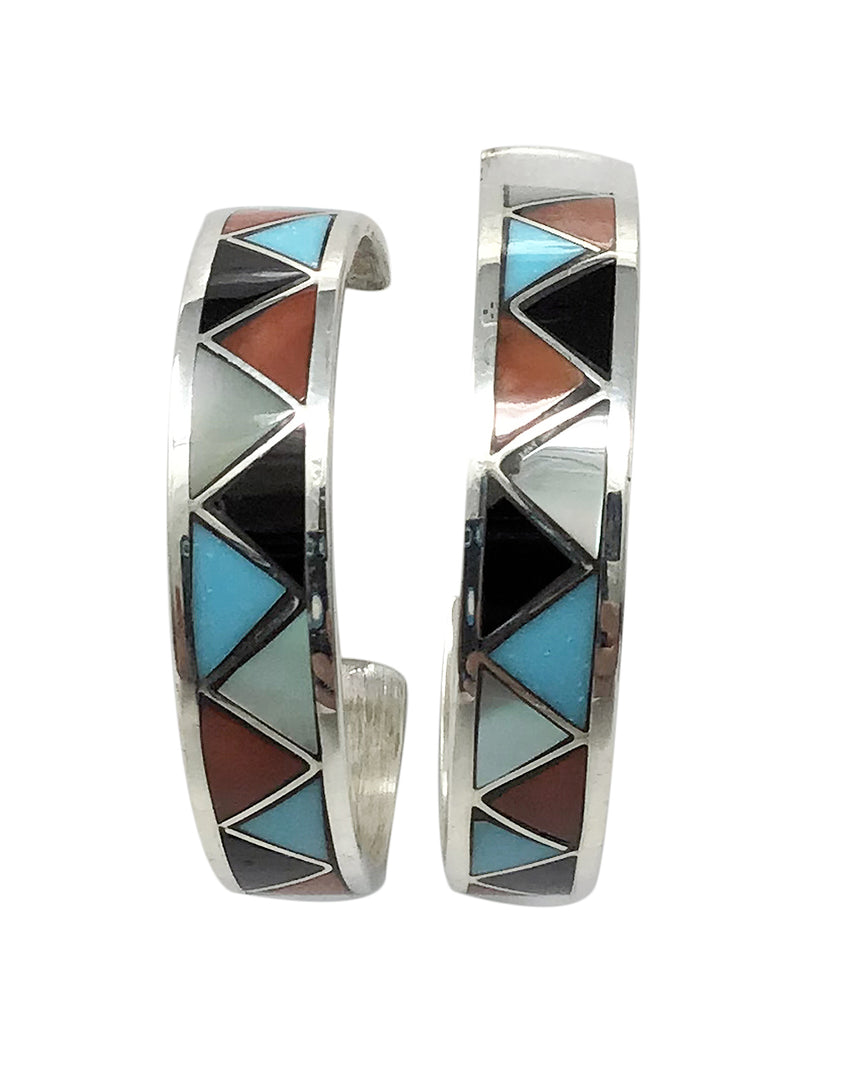 Claudine Haloo,Hoop Earrings,Multi Stone,Channel Inlay, Zuni Handmade, 1 1/8