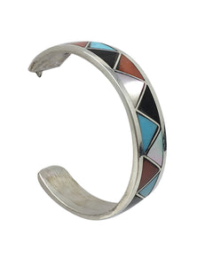 Claudine Haloo,Hoop Earrings,Multi Stone,Channel Inlay, Zuni Handmade, 1 1/8""