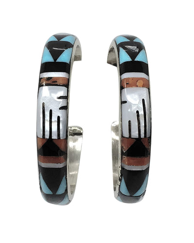Michael Boone,Hoop Earrings,Multi Stone,Mosaic Inlay,Zuni Handmade, 1 1/2