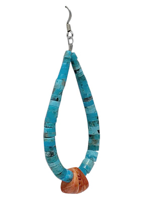 Load image into Gallery viewer, Santo Domingo Earrings, French Hook, Turquoise, Shell, Jacla, Handmade, 3 1/4""