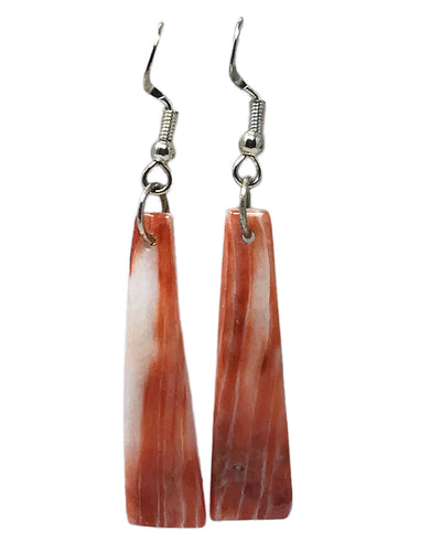 Navajo Handmade, Earring, Dangle, Sterling Silver, Spiny Oyster Shell, 2 1/4