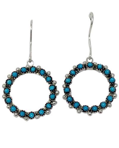 Stephen Haloo, Earrings, Dangle, Turquoise Snake Eyes, Zuni Handmade, 1 5/8