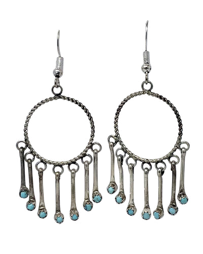 Michael Bitsie, Earrings, Dangles, Sterling Silver, Navajo Handmade, 2 1/4