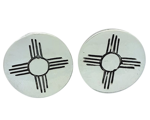 Melvin Francis, Earring, New Mexico Zia, Sterling Silver, Navajo Handmade, 7/8