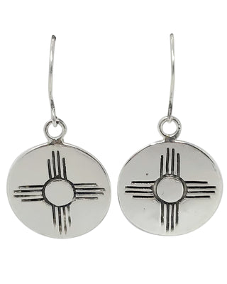 Load image into Gallery viewer, Melvin Francis, Dangle Earring, New Mexico Zia, Sterlin, Navajo Handmade, 7/8""