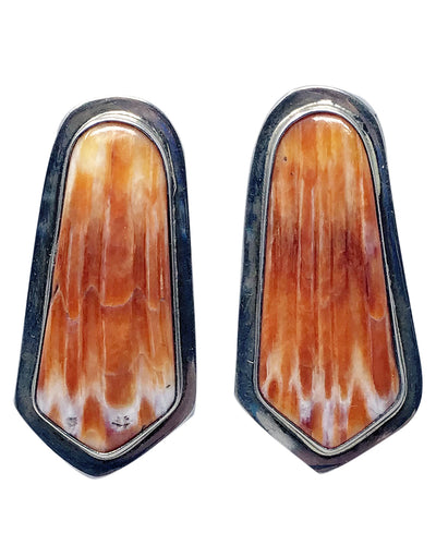 Navajo Handmade Earrings, Orange Spiny Oyster Shell, Signed SH, 1 3/4