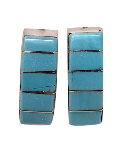 Lloyd Kanesta, Quarter Hoop Earrings, Sleeping Beauty Turquoise, Zuni Made, 3/4