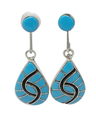 Load image into Gallery viewer, Amy Quandelacy, Earrings, Turquoise, Channel Inlay, Zuni Handmade, 1 7/8""