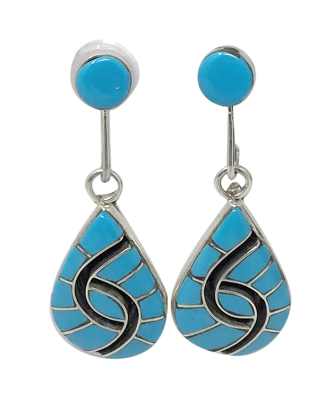 Amy Quandelacy, Earrings, Turquoise, Channel Inlay, Zuni Handmade, 1 7/8