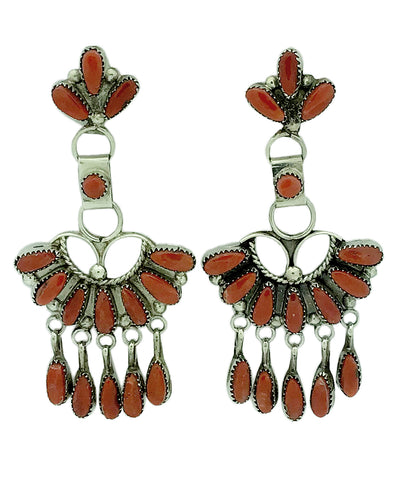 Vie Bobelu,Earrings,Dangles,Mediterranean Coral, Zuni, 2 3/8