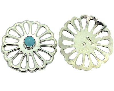 Load image into Gallery viewer, Mildred Parkhurst, Earrings, Sandcast, Turquoise, Navajo Handmade, 1 1/4""