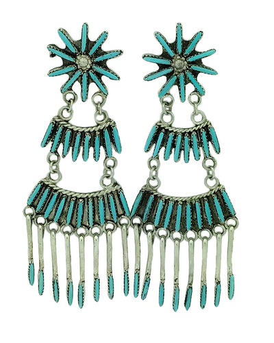 Jeannie Lastiyano, Earrings, Turquoise, Needlepoint, Zuni Handmade, 2 3/4