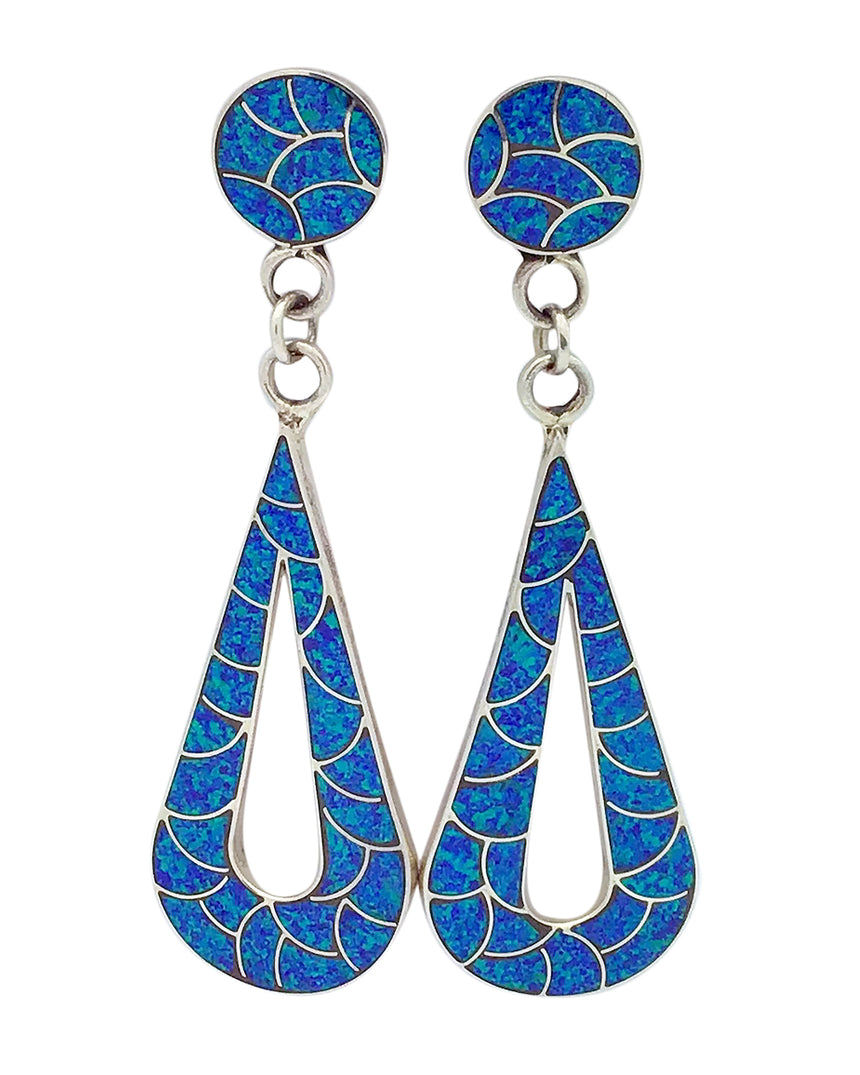 Lynelle Johnson, Earrings,Blue Opal,Fish Scale Inlay, Zuni Handmade, 3 5/8